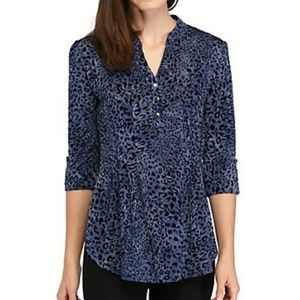 NWT New Directions Blue Leopard Print Tunic Top